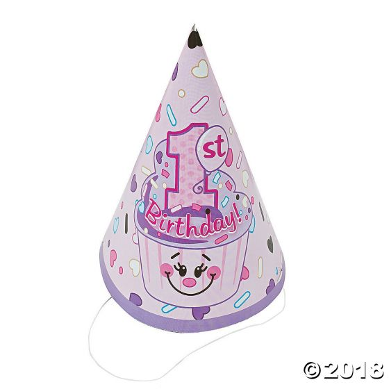 1st Birthday Cupcake Cone Hats