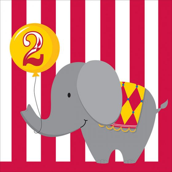 Circus Time Lunch Napkins 2nd Birthday