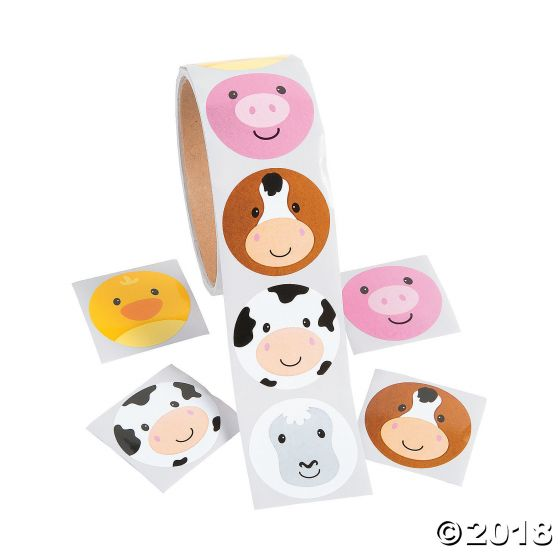 Farm Animal Face Stickers Party Supplies Ideas Accessories