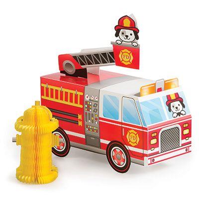 Flaming Fire Truck Centerpiece 3D