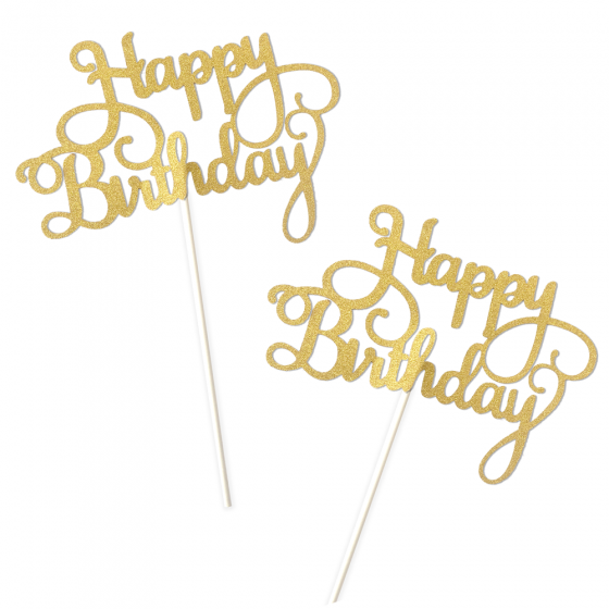 Surprising Happy Birthday Cake Topper Gold Glitter Party Supplies Ideas Birthday Cards Printable Giouspongecafe Filternl