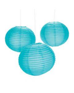 """18"""" Turquoise Hanging Paper Lanterns"""
