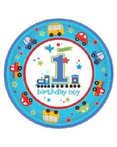 1st Birthday Boy All Aboard Lunch Plate
