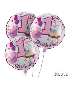 1ST Birthday Cupcake Foil Balloons