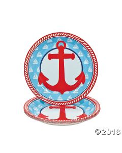 1ST Birthday Nautical Sailor Paper Dessert Plates
