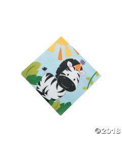 1ST Birthday Zoo Beverage Napkin