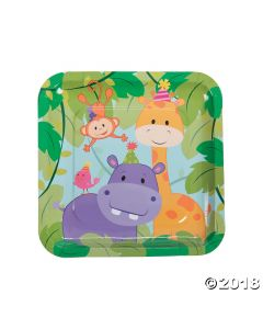 1st Birthday Zoo Square Paper Lunch Plates