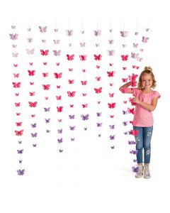 3D Butterfly Ombre Curtain Backdrop
