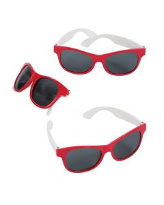 Adult's Red and White Two-Tone Sunglasses