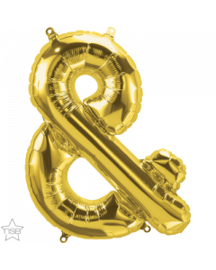 Ampersand Gold Air Filled 41cm Foil Balloon