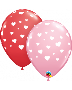 Assorted Random Hearts-a Round 27cm Round Latex Balloon