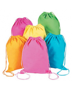 Large Neon Canvas Drawstring Backpacks