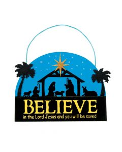 "Believe"" Nativity Sign Christmas Craft Kit"
