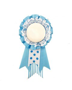 Birthday Ribbon and Badge Blue