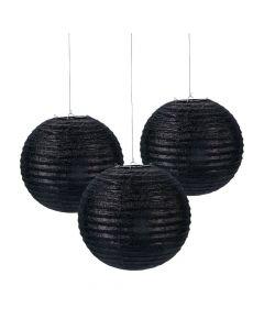 Black Glitter Hanging Paper Lanterns