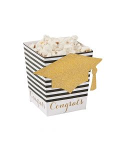 Black and Gold Grad Popcorn Boxes