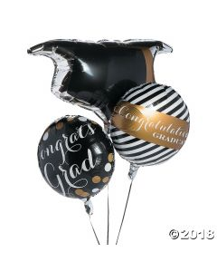 Black & Gold Graduation Foil Balloons