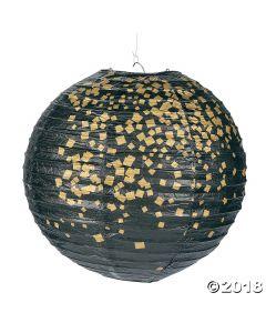 Black & Gold Patterned Hanging Paper Lanterns