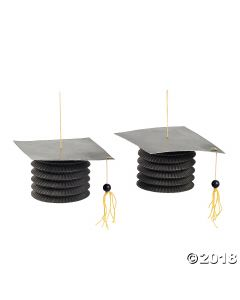 Black Graduation Cap Hanging Paper Lanterns