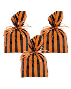 Black and Orange Striped Cellophane Bags