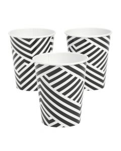 Black Overlapping Chevrons Paper Cups