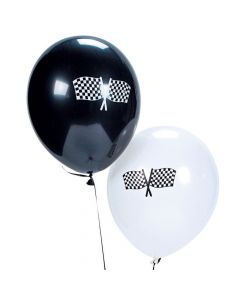"Black and White Checkered Flag 11"" Latex Balloons"