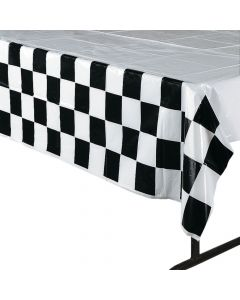 Black & White Checkered Plastic Tablecloth