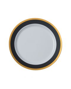 Black and White Premium Plastic Dinner Plates with Gold Border