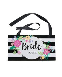 Black and White Stripe Bride to Be Chair Sign