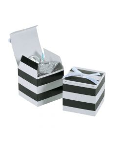 Black and White Stripe Favor Boxes with Bow
