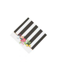 Black and White Striped Bridal Shower Beverage Napkins