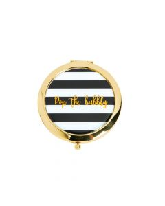Black and White Striped Pop Bubbly Gold Compact Mirrors