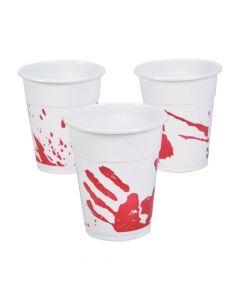 Bloody Handprint Plastic Tumblers