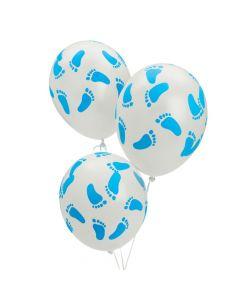 "Blue Baby Footprints 11"" Latex Balloons"