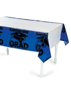 Blue Congrats Grad Plastic Tablecloth