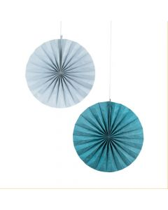Blue and Silver Glitter Hanging Paper Fans