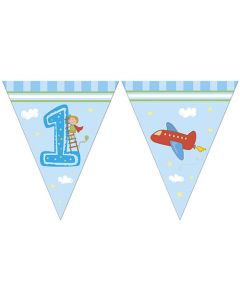Boy First Birthday Triangle Flag Banner