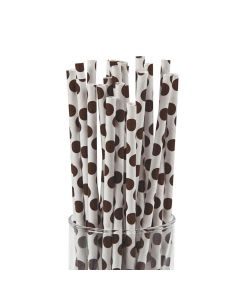 Brown Polka Dot Paper Straws