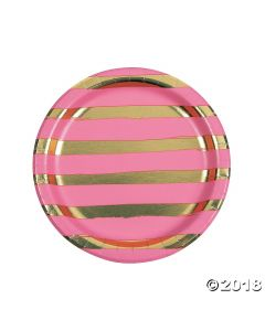 Candy Pink & Gold Foil Striped Paper Lunch Paper Plates