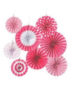 Candy Pink Hanging Paper Fan Assortment