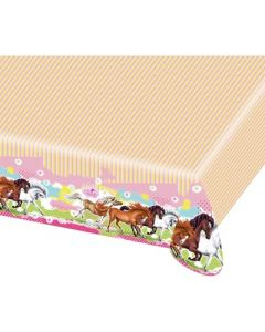 Charming Horses Plastic Tablecover