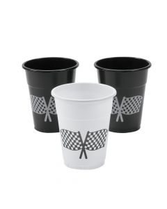 Checkered Flag Design Plastic Cups