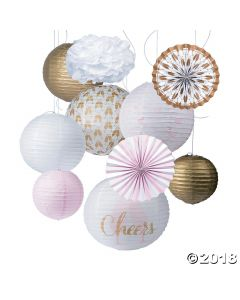 Cheers Pink & Gold Hanging Decor Kit