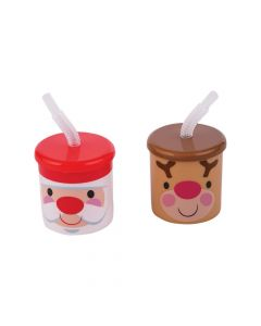 Cheery Christmas Cups with Lids and Straws