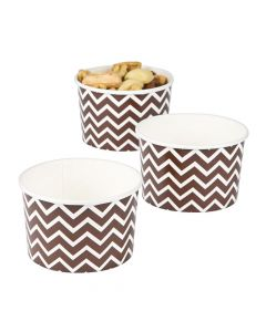 Chocolate Brown Chevron Snack Paper Bowls
