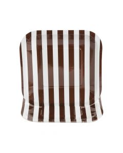 Chocolate Brown Striped Square Paper Dessert Plates