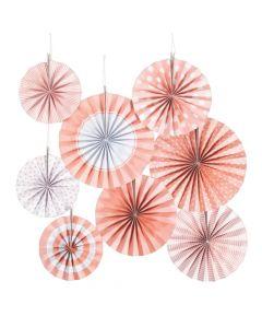 Classic Pink Hanging Paper Fan Assortment