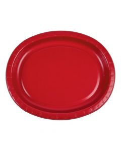 Classic Red Oval Paper Dinner Plates