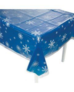 Clear Snowflake Print Plastic Tablecloth