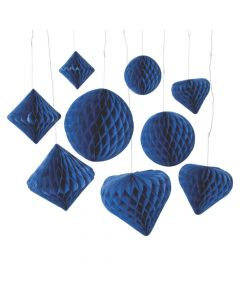 Cobalt Blue Hanging Paper Honeycomb Decoration Assortment